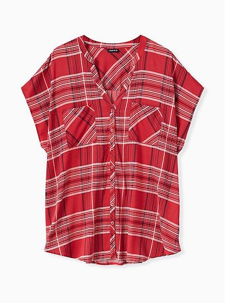 Red Plaid Button Front Dolman Blouse , PLAID - RED, hi-res
