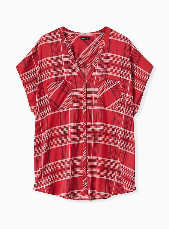 Red Plaid Button Front Dolman Blouse , , hi-res