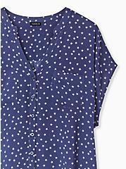Navy & White Star Challis Button Front Dolman Blouse , STARS-NAVY, alternate