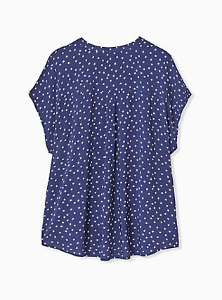 Navy & White Star Challis Button Front Dolman Blouse , STARS-NAVY, alternate