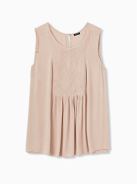 Taupe Crinkled Gauze Smocked Tank, FAWN, alternate