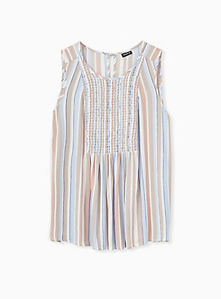 Plus Size Blue & Taupe Stripe Crinkled Gauze Smocked Tank, STRIPE - WHITE, alternate
