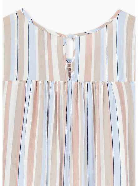 Blue & Taupe Stripe Crinkled Gauze Smocked Tank, STRIPE - WHITE, alternate
