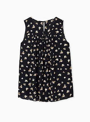 Black Ditsy Floral Crinkled Gauze Smocked Tank, FLORAL - BLACK, alternate