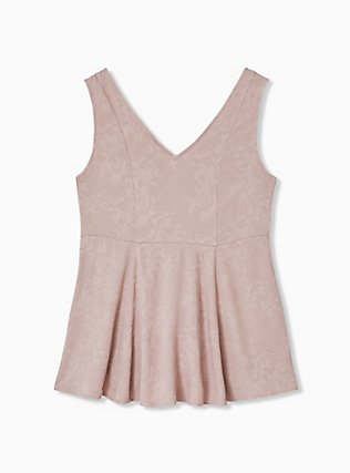 Taupe Jacquard Button Front Fit & Flare Peplum Tank, FAWN, alternate