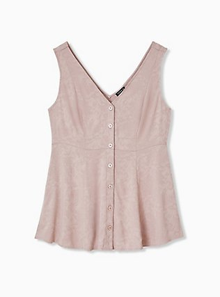 Taupe Jacquard Button Front Fit & Flare Peplum Tank, FAWN, hi-res