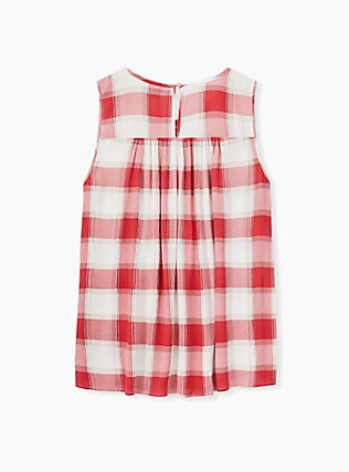 Red Plaid Crinkled Gauze Smocked Tank, PLAID - WHITE, alternate