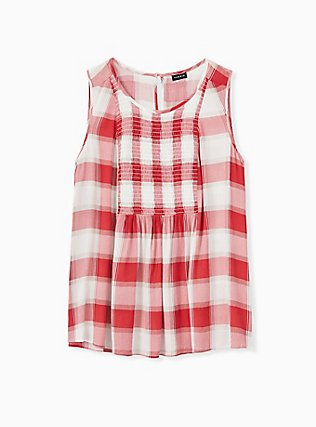 Red Plaid Crinkled Gauze Smocked Tank, PLAID - WHITE, hi-res