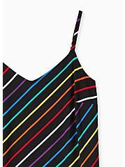 Ava - Black & Rainbow Stripe Challis Cami, STRIPE -BLACK, alternate