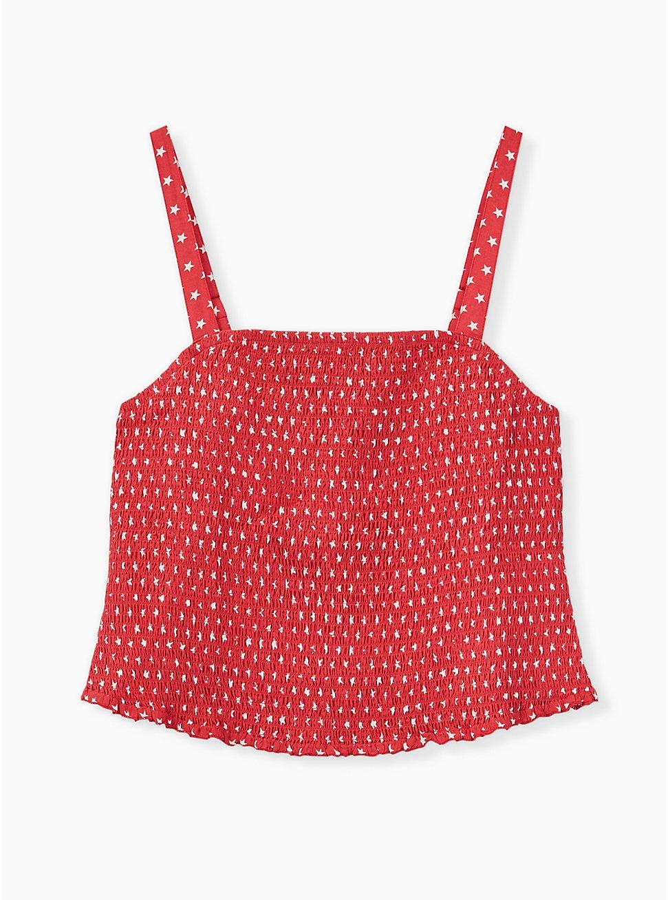 Red Star Challis Smocked Crop Cami  , MULTI, hi-res