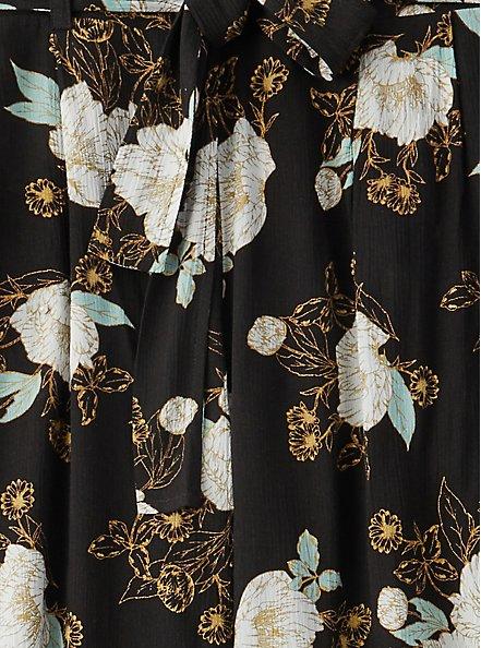 Black Floral Crinkle Gauze Self Tie Wide Leg Pant, FLORAL, alternate