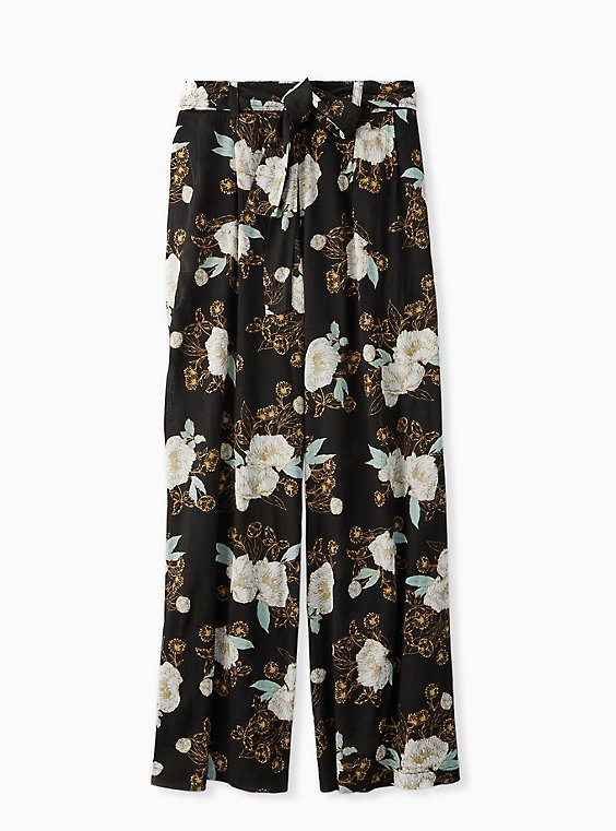Plus Size Black Floral Crinkle Gauze Self Tie Wide Leg Pant, , hi-res