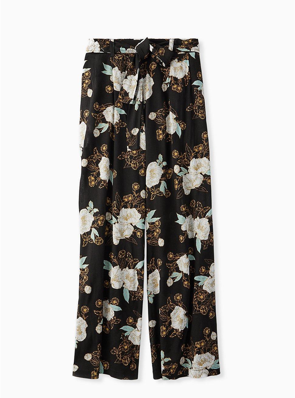 Black Floral Crinkle Gauze Self Tie Wide Leg Pant, FLORAL, hi-res