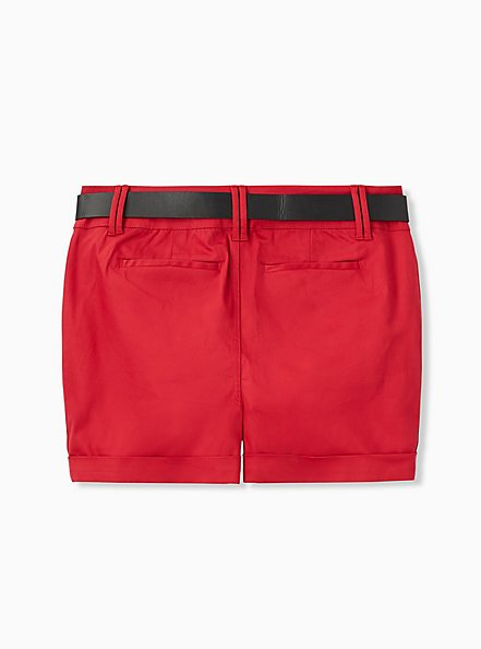 Belted Mid Short - Sateen Red, AMERICAN BEAUTY, alternate
