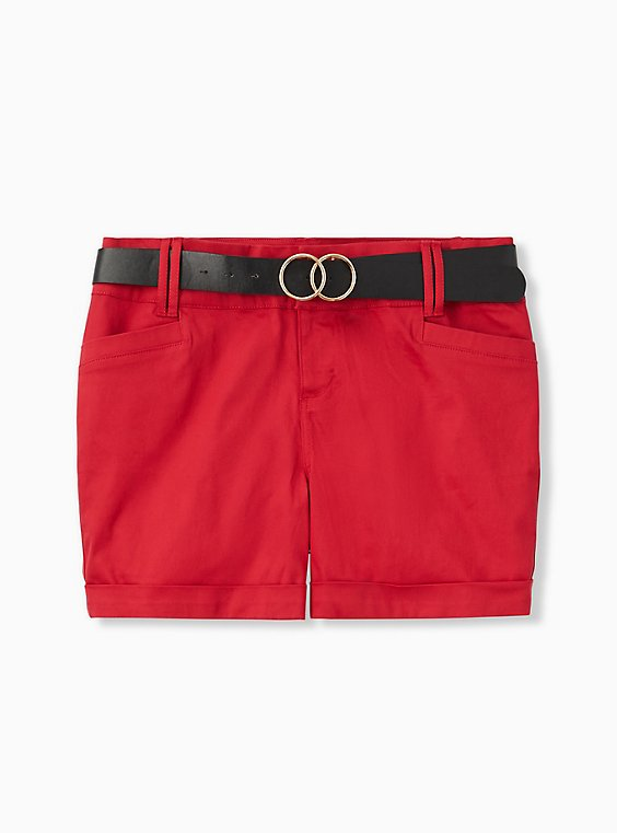 Belted Mid Short - Sateen Red, , hi-res