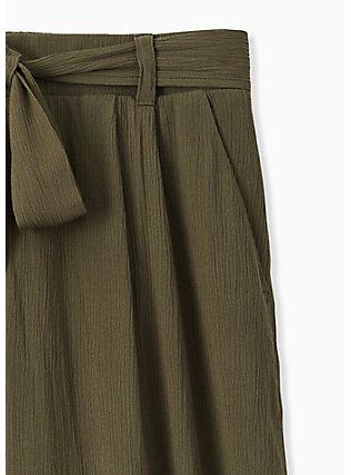 Plus Size Olive Green Crinkled Gauze Self Tie Culotte Pant, DEEP DEPTHS, alternate
