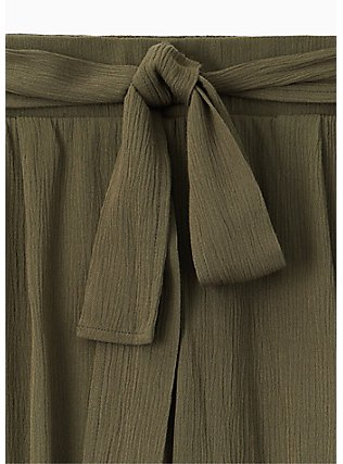 Olive Green Crinkled Gauze Self Tie Culotte Pant, DEEP DEPTHS, alternate