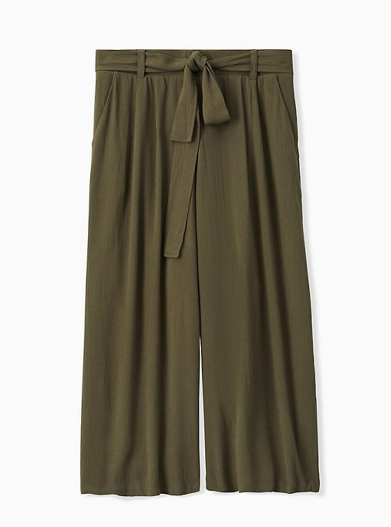 Plus Size Olive Green Crinkled Gauze Self Tie Culotte Pant, , hi-res