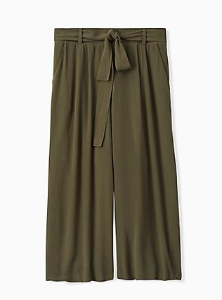Plus Size Olive Green Crinkled Gauze Self Tie Culotte Pant, DEEP DEPTHS, hi-res