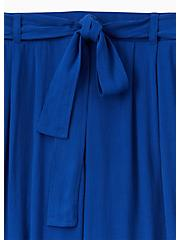 Sapphire Blue Crinkled Gauze Self tie Culotte Pant , SODALITE BLUE, alternate
