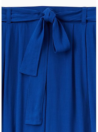 Plus Size Sapphire Blue Crinkled Gauze Self tie Culotte Pant , SODALITE BLUE, alternate