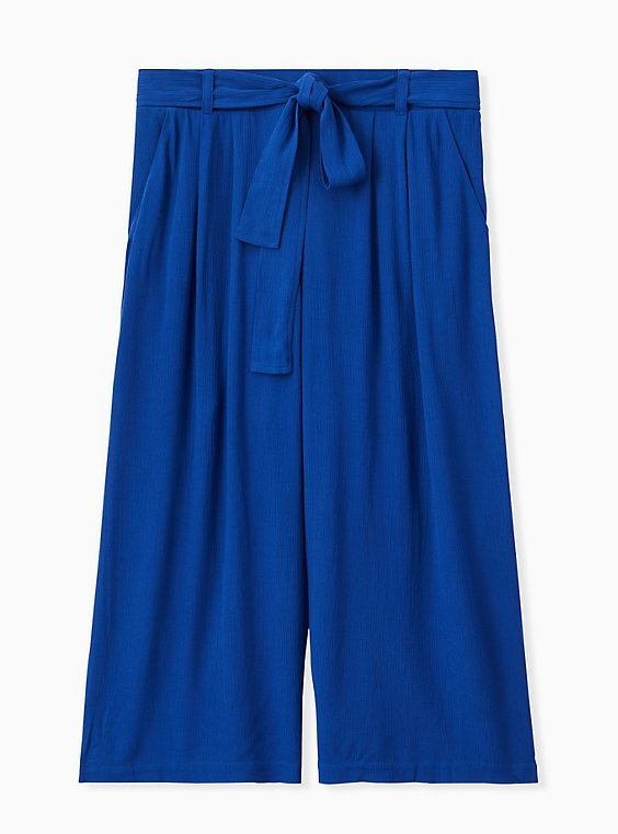 Plus Size Sapphire Blue Crinkled Gauze Self tie Culotte Pant , , hi-res