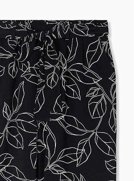 Black & White Leaf Challis Tie Front Wide Leg Pant, LEAVES - WHITE, alternate