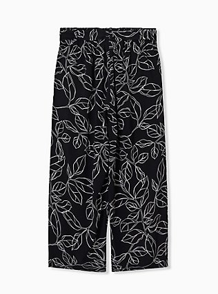 Black & White Leaf Challis Tie Front Wide Leg Pant, LEAVES - WHITE, alternate