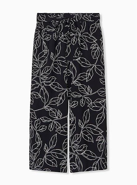 Black & White Leaf Challis Tie Front Wide Leg Pant, LEAVES - WHITE, hi-res