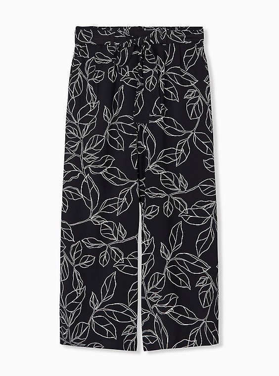 Plus Size Black & White Leaf Challis Tie Front Wide Leg Pant, , hi-res