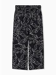 Black & White Leaf Challis Tie Front Wide Leg Pant, LEAVES - WHITE, hi-res