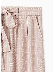 Taupe Geo Line Challis Self Tie Wide Leg Pant , OTHER PRINTS, alternate