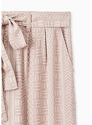 Plus Size Taupe Geo Line Challis Self Tie Wide Leg Pant , OTHER PRINTS, alternate