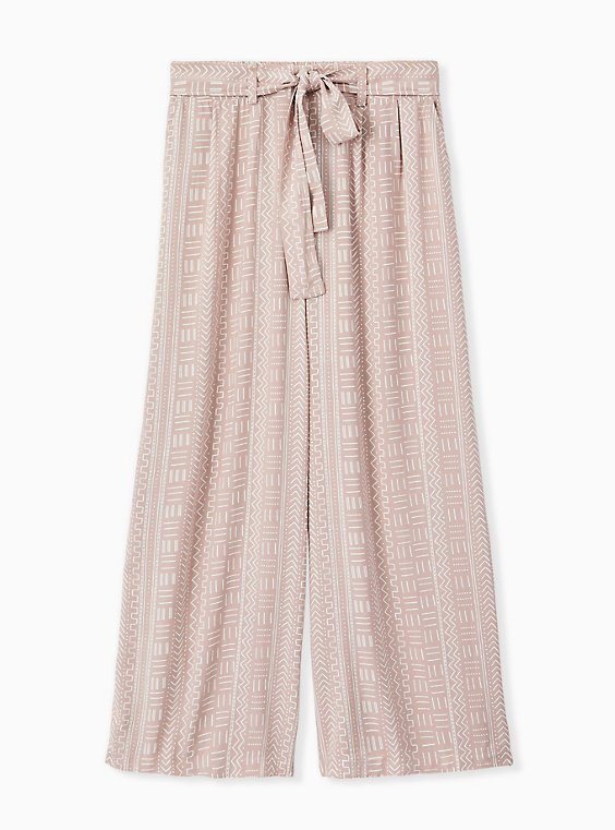 Plus Size Taupe Geo Line Challis Self Tie Wide Leg Pant , OTHER PRINTS, hi-res
