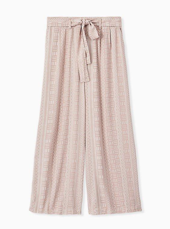 Plus Size Taupe Geo Line Challis Self Tie Wide Leg Pant , , hi-res