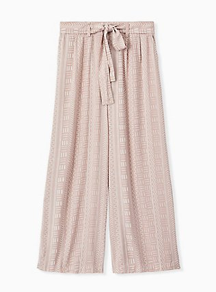 Taupe Geo Line Challis Self Tie Wide Leg Pant , OTHER PRINTS, hi-res