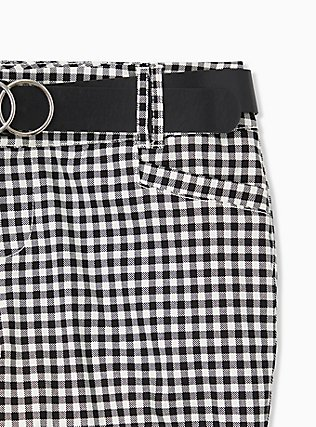 Belted Mid Short - Sateen Gingham Black, GINGHAM WHITE-BLACK, alternate