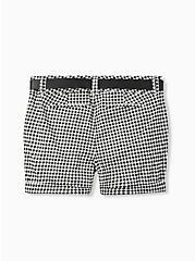 Plus Size Belted Mid Short - Sateen Gingham Black, GINGHAM WHITE-BLACK, alternate