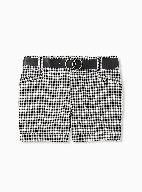 Belted Mid Short - Sateen Gingham Black, , hi-res