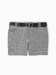 Belted Mid Short - Sateen Gingham Black, GINGHAM WHITE-BLACK, hi-res