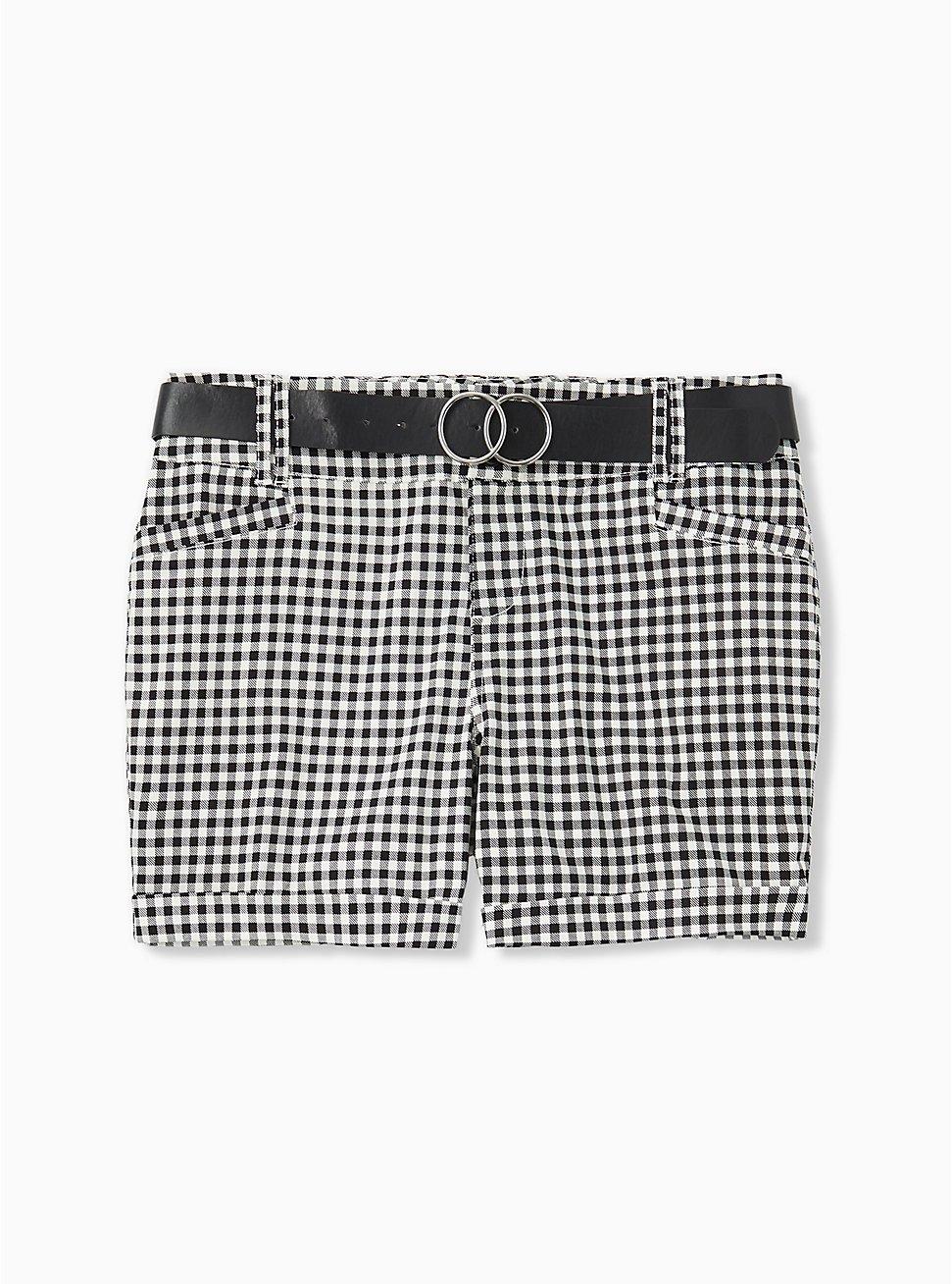 Plus Size Belted Mid Short - Sateen Gingham Black, GINGHAM WHITE-BLACK, hi-res