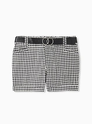 Belted Mid Short - Sateen Gingham Black, GINGHAM WHITE-BLACK, hi-res