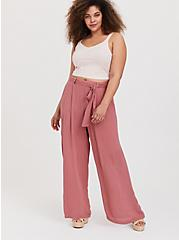 Dusty Rose Gauze Self Tie Wide Leg Pant, WITHERED ROSE PINK, alternate