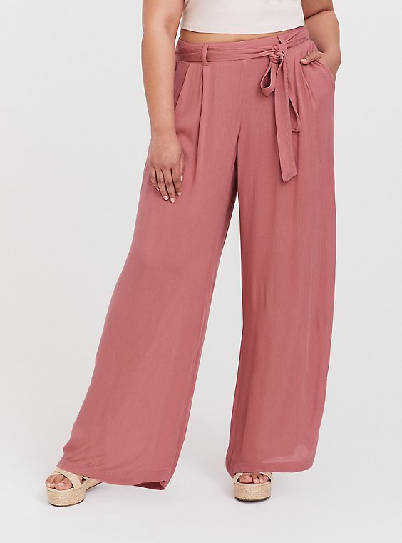 Plus Size Dusty Rose Gauze Self Tie Wide Leg Pant, , hi-res