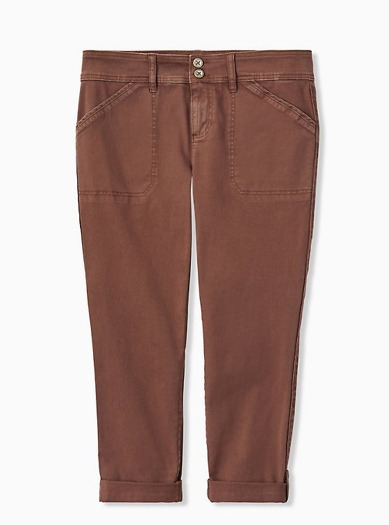 Plus Size Crop Aviator Pant - Twill Dark Taupe, , hi-res