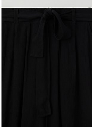 Plus Size Black Crinkled Gauze Self Tie Culotte Pant , DEEP BLACK, alternate