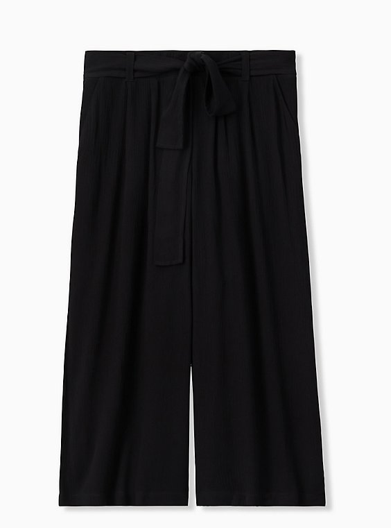 Plus Size Black Crinkled Gauze Self Tie Culotte Pant , , hi-res