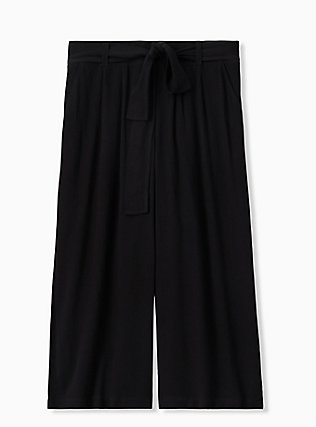 Plus Size Black Crinkled Gauze Self Tie Culotte Pant , DEEP BLACK, hi-res
