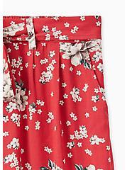 Red Floral Challis Self Tie Wide Leg Pant , FLORAL, alternate
