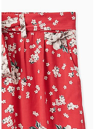 Red Floral Challis Self Tie Wide Leg Pant , FLORAL, alternate